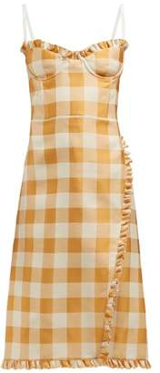 Brock Collection Ossana Ruffle Trimmed Checked Dress - Womens - Orange Multi