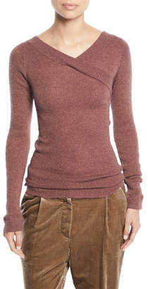 Brunello Cucinelli V-Neck Long-Sleeve Metallic Mohair Ribbed Sweater