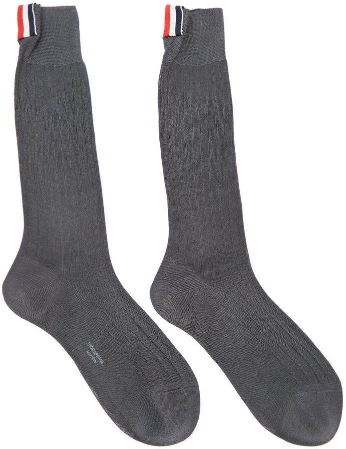 Thom Browne Grey Ribbed Socks