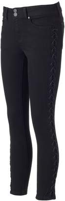 Juniors' Indigo Rein Lace-Up Black Skinny Jeans