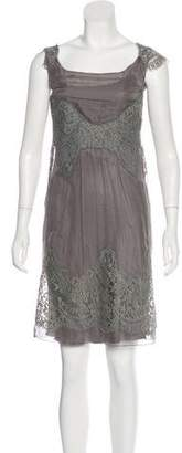 Alberta Ferretti Lace-Accented Knee-Length Dress