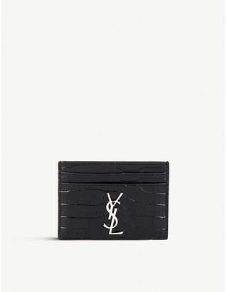 Saint Laurent Monogram crocodile-embossed leather cardholder