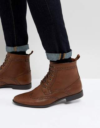 Asos Brogue Boots In Tan Faux Leather