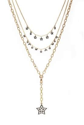 AMMANII - Moon & Stars Charm Multi-Strand Necklace Vermeil Gold