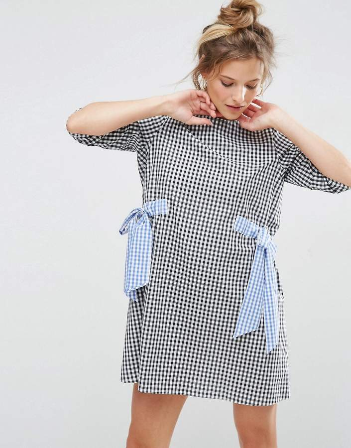 Asos ASOS Gingham Shift Dress with Bow Details