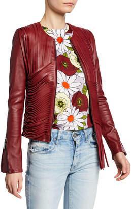 Nour Hammour Retrograde Draped Leather-Fringe Biker Jacket