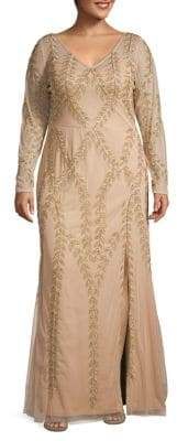 Adrianna Papell Plus Vine-Detailed Beaded Gown