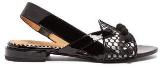 Toga Asymmetric Patent Leather Sandals - Womens - Black