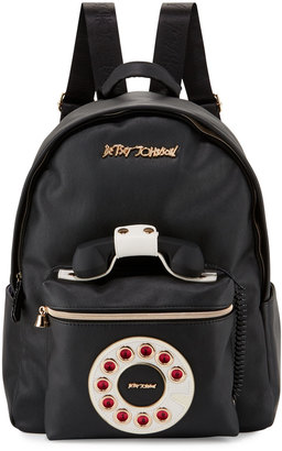 Betsey Johnson Telephone Faux-Leather Backpack, Black $115 thestylecure.com