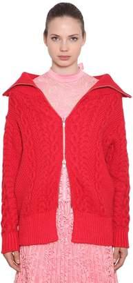Self-Portrait Cotton Blend Cable Knit Cardigan