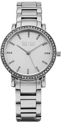 Co SO & Ny Women'S Madison Stainless Steel Bracelet Crystal Filled Bezel Dress Quartz Watch J155P28