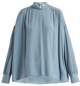 The Row Losaline Silk Crepe De Chine Blouse - Womens - Blue