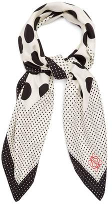 Contrast-panel polka-dot silk scarf