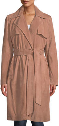 Neiman Marcus Leather Collection Suede Wrap Duster Coat