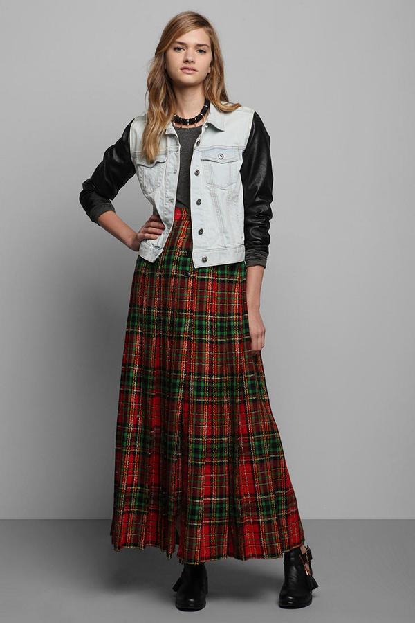 Vintage '80s Oscar De La Renta Plaid Wool Skirt