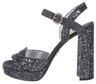 Prada Glitter Platform Sandals