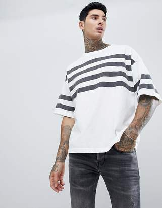 AllSaints Heavyweight Oversized T-Shirt In White With Stripes