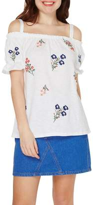 Dorothy Perkins Ivory Embroidery Cold Shoulder Top