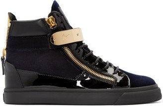 Giuseppe Zanotti Black & Navy Velvet London High-Top Sneakers $895 thestylecure.com