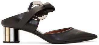 Proenza Schouler Black Pointy Grommet Mules