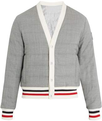 Moncler Striped-trim quilted down bomber jacket