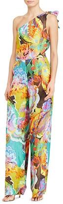 Lauren Ralph Lauren One Shoulder Floral Print Jumpsuit $185 thestylecure.com