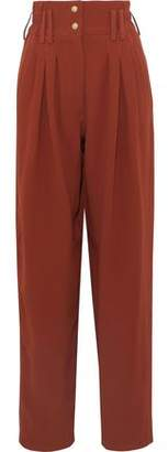 Balmain Pleated Crepe Straight-leg Pants