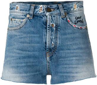 Saint Laurent distressed trim denim shorts