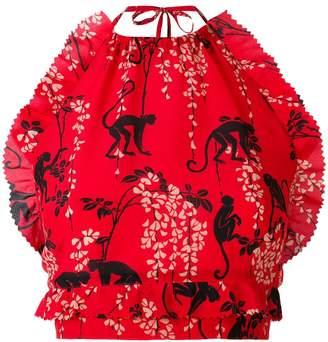 RED Valentino monkey print halter top