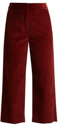 Max Mara Cropped Cotton Corduroy Trousers - Womens - Burgundy