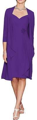 Dressyu Women's 2 pcs Chiffon Short Mother of The Bride Dress with Jacket US