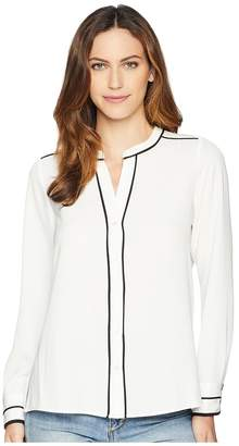 Calvin Klein Long Sleeve Blouse w/ Piping Women's Blouse