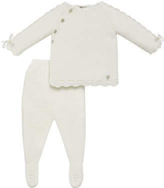 Carrera Pili Asymmetric Button Knit Sweater w/ Footed Leggings, Size 1-6 Months