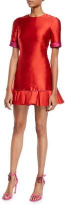 Brandon Maxwell Short-Sleeve Double-Face Satin Ruffle-Hem Mini Cocktail Dress