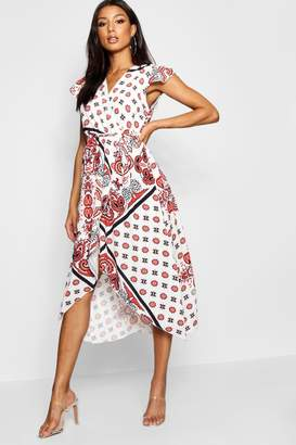 boohoo Paisley Print Wrap Front Maxi Dress