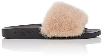 Givenchy Women's Fur Slide Sandals $595 thestylecure.com