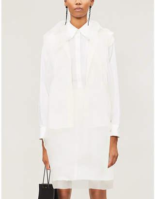Yang Li Sheer-overlay woven shirt