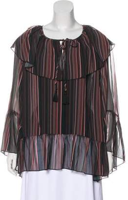 Rebecca Minkoff Striped Ruffle-Accented Top