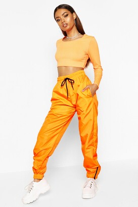 boohoo High Waist Shell Suit Track Pant