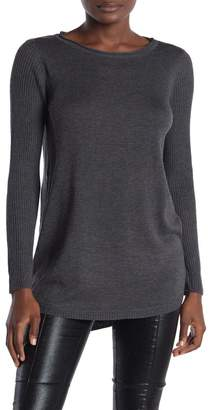 Magaschoni M BY Crew Neck Rib Knit High/Low Hem Sweater