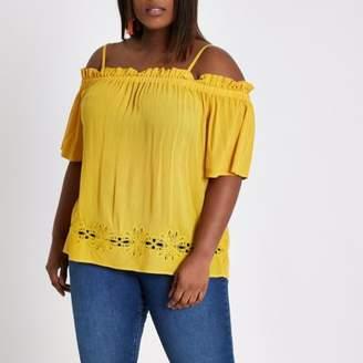 River Island Womens Plus yellow shirred bardot top