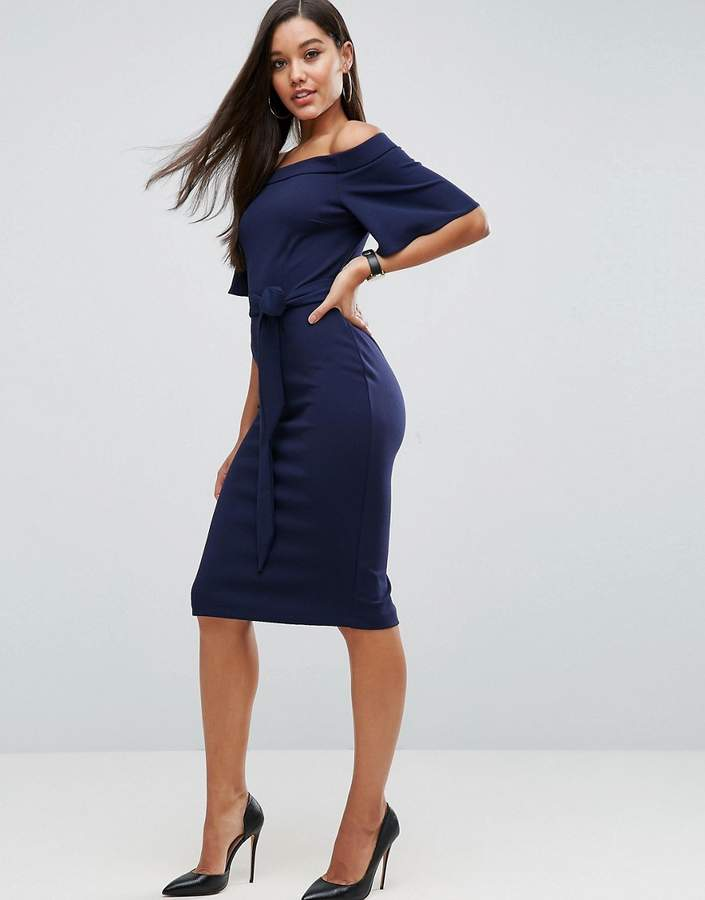 Asos ASOS Midi Dress with Off Shoulder and Self Tie