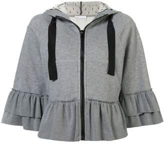 RED Valentino ruffled zipped hoodie
