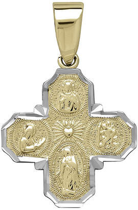 FINE JEWELRY Tesoro 14K Two-Tone Gold Four Way Cross Pendant