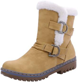 Odetina Women's Winter Warm Synthetic Buckle Strap Snow Ankle Boots