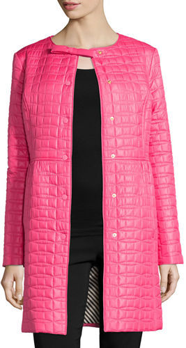 Kate Spade Kate Spade New York Long Quilted Snap-Front Coat W/ Bow Detail