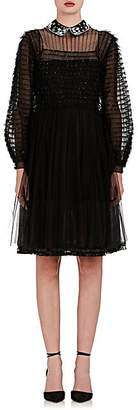 Valentino WOMEN'S EMBELLISHED SILK TIERED TULLE SHIRTDRESS