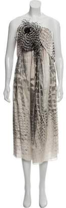 Barbara Bui Silk Feather-Accented Dress grey Silk Feather-Accented Dress