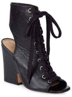 Schutz Dudaflor Lace-Up Leather Sandals