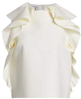 MSGM Women's Ruffled Sleeveless Blouse